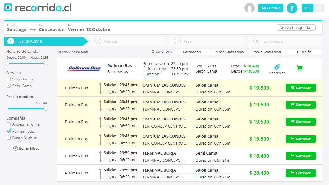 En Recorrido.cl, los horarios desde y hacia Las Condes están destacados en amarillo