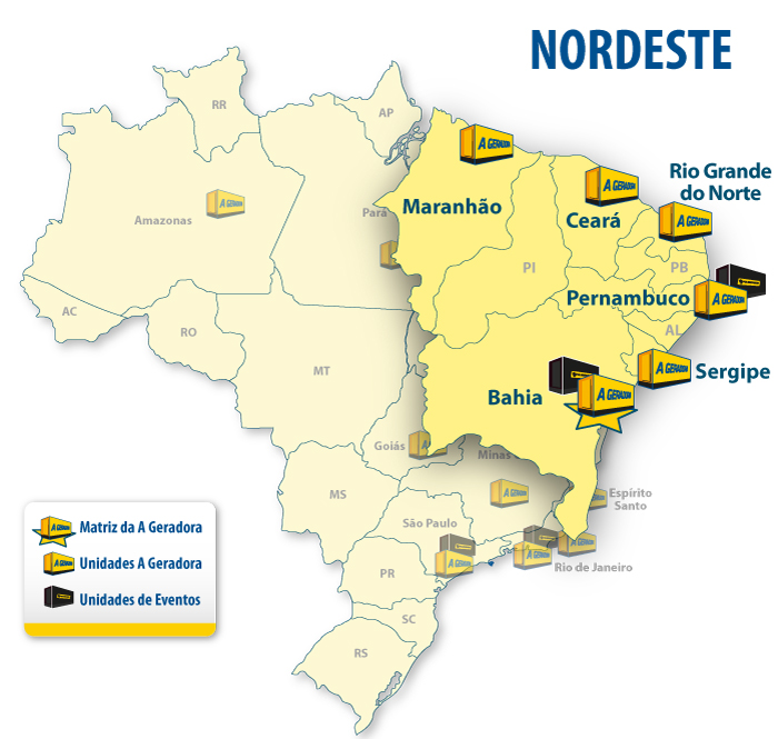 •Aracaju •Fortaleza •Natal •Recife •Salvador •São Luís