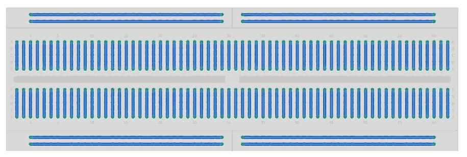 Ligações internas da protoboard