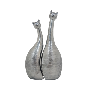 Escultura Par de Gatos na cor Prata