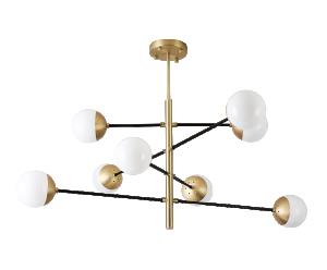 Pendente Atomus Bronze e Preto com 8 Globos em Vidro