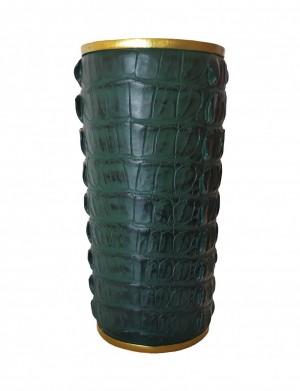 Vaso Tipo Crocodilo Verde e Dourado