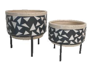 CJ de Cachepots de Cerâmica Base Metal - 2 pçs