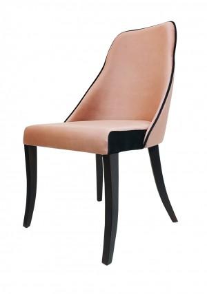 Cadeira Eliete em Suede Rosa e Preto com Base em Madeira