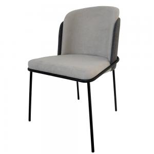 Cadeira Soiet com Base em Metal Preto e Encosto em Linho Cinza