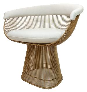 Cadeira Platner Bege Claro com Base Dourada