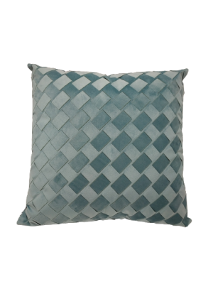 Almofada Trançada em Veludo Azul Tiffany