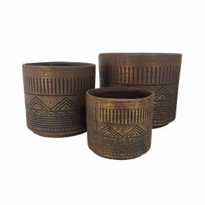 Conjunto de Cachepots Tribais de Cerâmica - 3 pçs