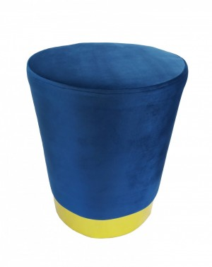 Puff Banco de Veludo Azul com Metal Dourado