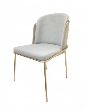 Cadeira Soiê com Base Dourada e Encosto em Suede Champagne