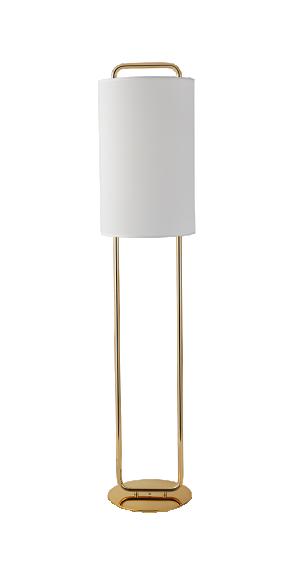 Abajur de Coluna Ring Dourado com Cúpula Branca