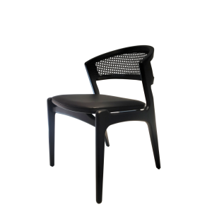 Cadeira Brenda em Madeira Preta e Encosto com Palha Sextavada