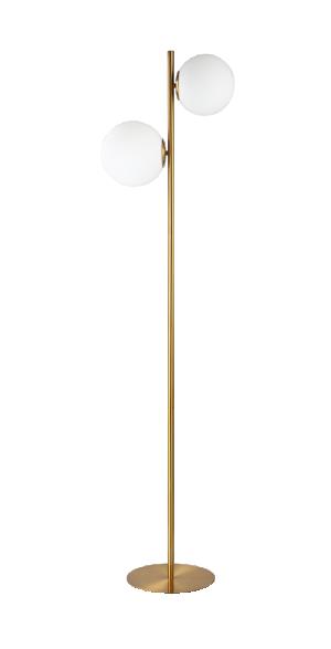 Abajur de Coluna Globe Dourado com 2 Globos em Vidro