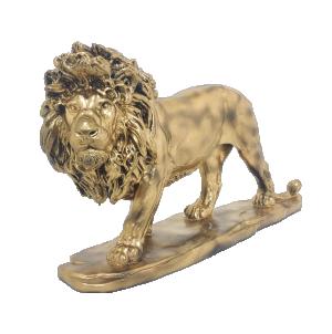 Escultura Leão Caminhando Dourado