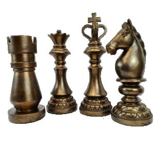 Kit Escultura Peças de Xadrez Bronze