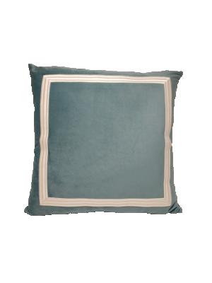 Almofada em Veludo Azul Tiffany c/ Bordado Eva