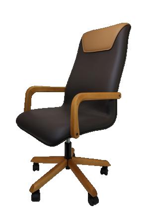Cadeira Executiva Boss em Couro com Pés e Braços de Madeira