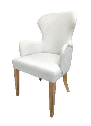 Cadeira Coliseu em Linho com Bordado e Base em Madeira