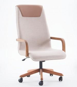 Cadeira Executiva Boss em Couríssimo com Pés e Braços de Madeira