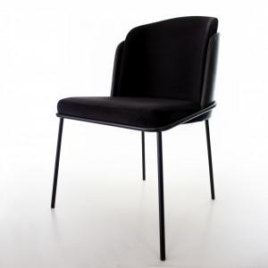 Cadeira Soiet Tecido Interno Veludo Preto Externo Couríssimo Preto Base Cromada