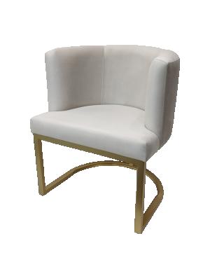 Cadeira Debora Veludo Cinza Claro com Base Dourada