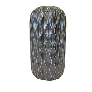 Vaso de Cerâmica Preto com Desenhos Geométricos