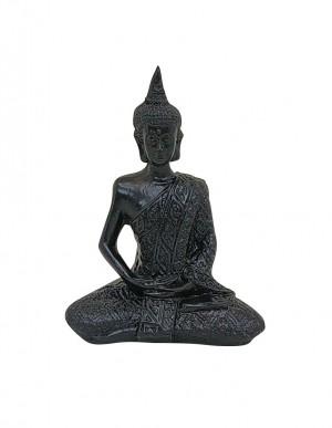 Escultura Buda Sentado Médio na cor Preto Acetinado