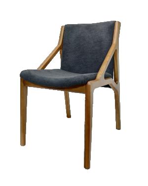 Cadeira Friga em Linho Preto com Pés em Madeira
