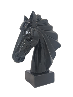 Escultura Cabeça de Cavalo Preto