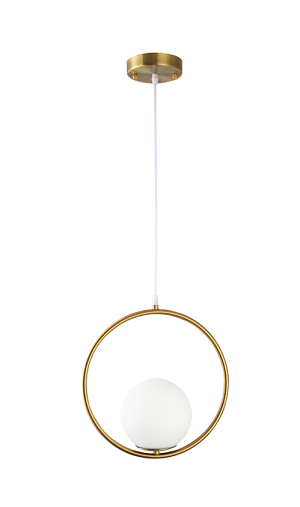 Pendente Globo Ring Dourado e Branco com Globo em Vidro