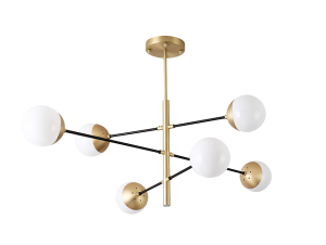 Pendente Atomus Bronze e Preto com 6 Globos em Vidro
