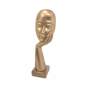 Escultura Mão com Rosto Dourada com Base de Madeira