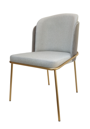 Cadeira Soiê com Base Dourada e Encosto em Suede Prata