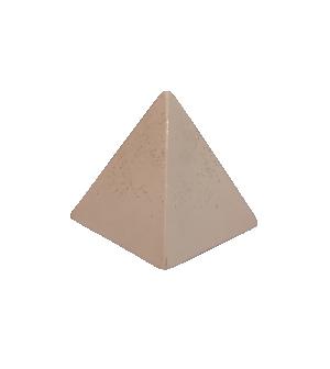 Escultura Pirâmide em Cimento Nude e Dourado da Mart