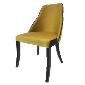 Cadeira Eliete em Suede Mostarda e Preto com Base em Madeira
