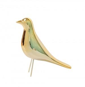 Escultura Pássaro Grande Dourado em Cerâmica da M