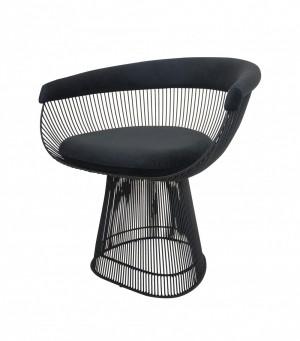 Cadeira Platner Preta com Tecido Aveludado