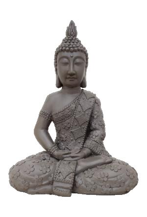 Escultura Buda em Resina Cinza
