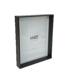 Porta-retrato Preto em MDF com Borda Interna Branca sem apoio 20X25