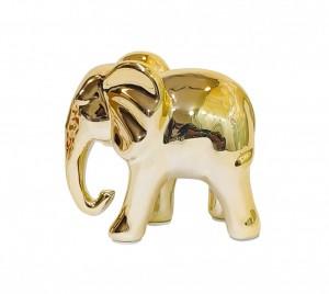 Escultura Elefante Pequeno Dourado em Cerâmica da Mart