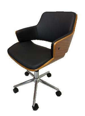 Cadeira Giratória Debora Preta com Base Cromada da Rivatti
