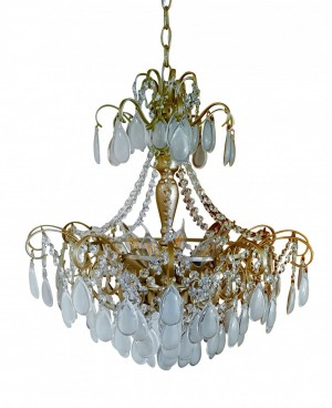 Lustre Kroon Metal Ouro Italiano com Cristais