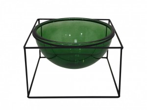Vaso Redondo Grande em Vidro Verde Transparente com Suporte em Metal