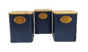 Conjunto de 3 Latas Mantimentos Azul com Tampa de Madeira