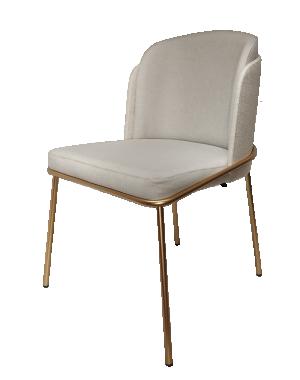 Cadeira Soiet com Base Dourado com Encosto em Linho Cinza