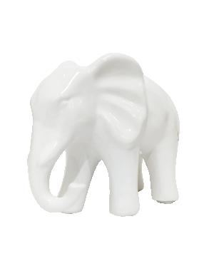 Escultura Elefante Grande Branco em Cerâmica da Mart