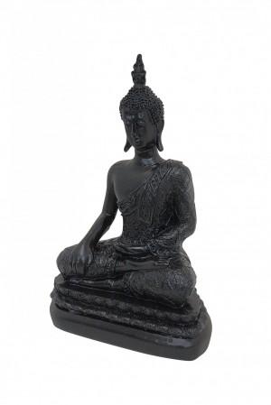 Escultura Buda Sentado Grande na cor Preto Acetinado