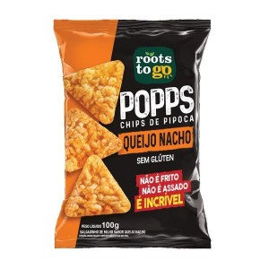 Snack Popps Sabor Queijo Nacho Roots To Go 100g