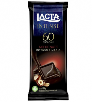 Chocolate 60% Cacau com Nuts Lacta Intense 85g