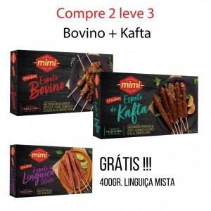 Compre 2 leve 3 :: Espeto Bovino 400g + Espeto Kafta 400g = Grátis Linguiça Mista 400g